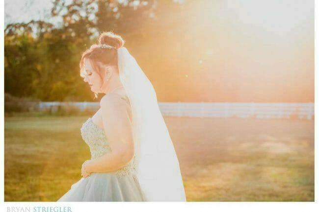 backlit bridal portrait