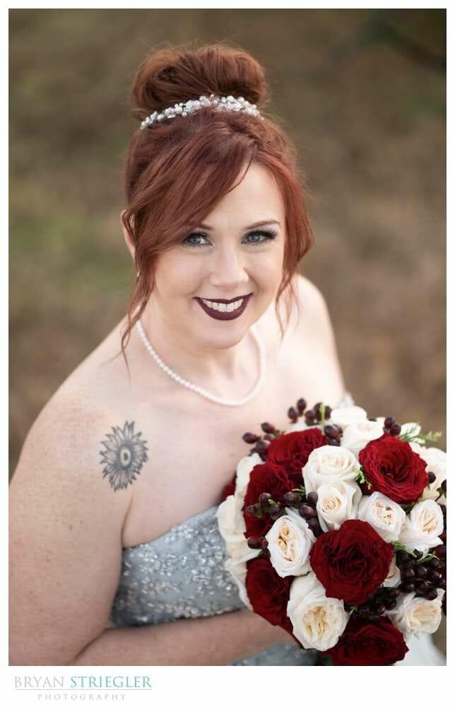 high angle bridal portrait