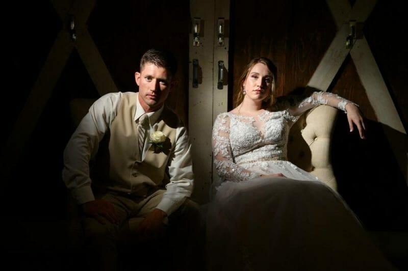 dramatic portrait of wedding couple