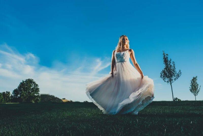 bride twirling dress