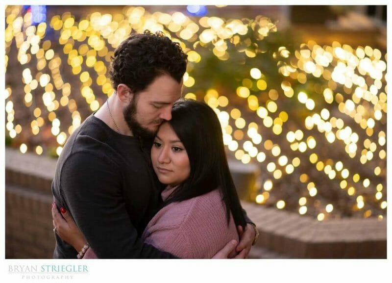 engagement photos with Christmas lights