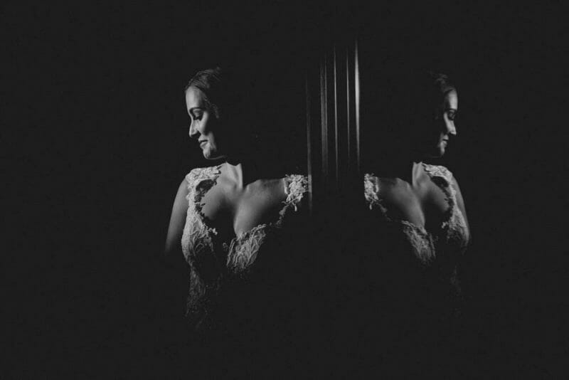 bride with reflection