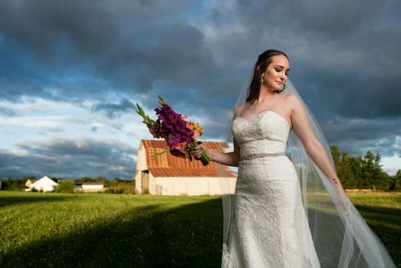 bride with dark skies