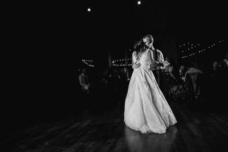 first dance at wedding black and white
