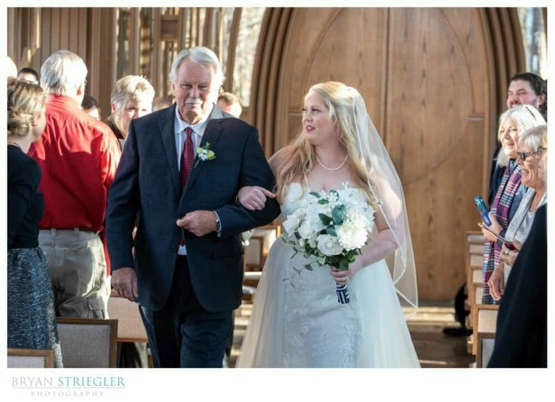 walking down the aisle at Mildred B. Cooper