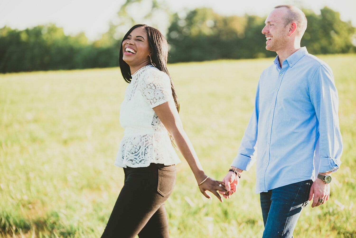 couple laughing and walking