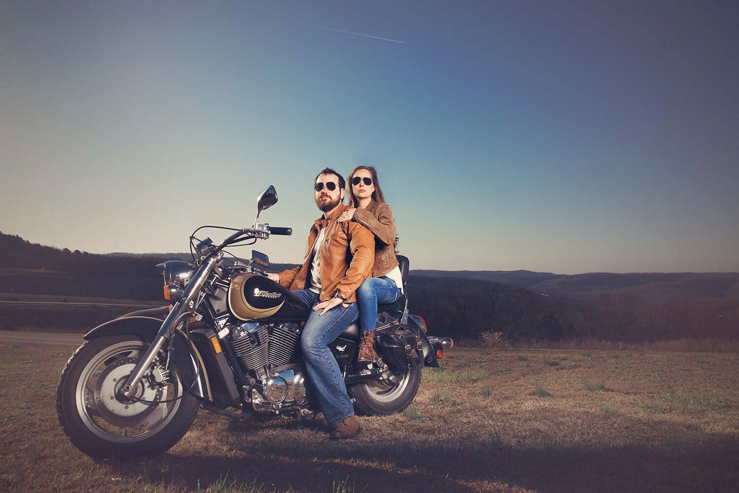 unique engagement photo with motorcycle