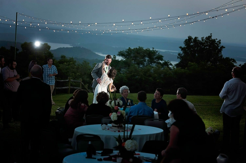 wedding couple dancing at night