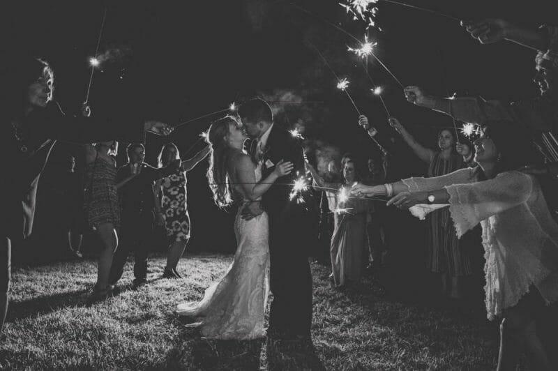 sparkler wedding at wedding after lockdown
