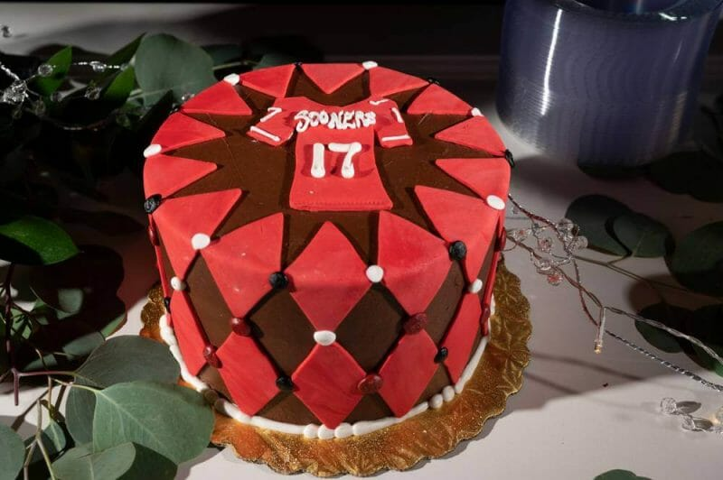 groom's cake with sooner's football theme
