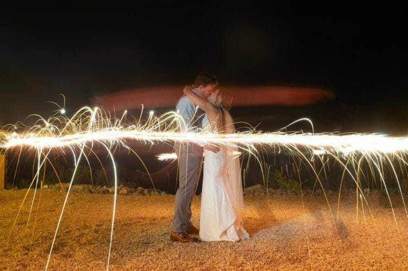 long exposure of bride and groom with sparklers