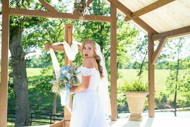 bride surprised by groomsmen