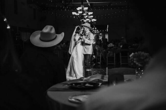 black and white dramatic photo of first dance