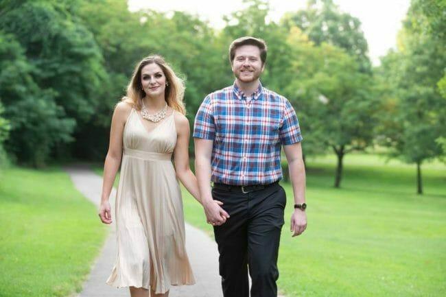 couple walking down path at Prairie Grove Battlefield Park