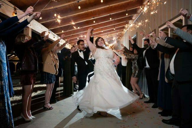 sparkler exit at White River Landing wedding venue