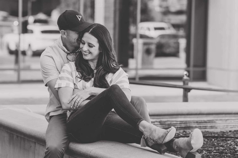engagement photos at downtown Kansas City at the Plaza