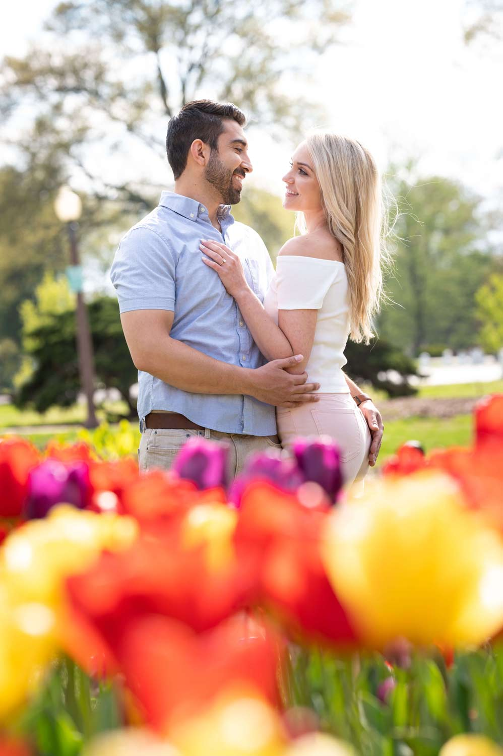 engagement photo with Tulips at Tower Grove Park in St. Louis