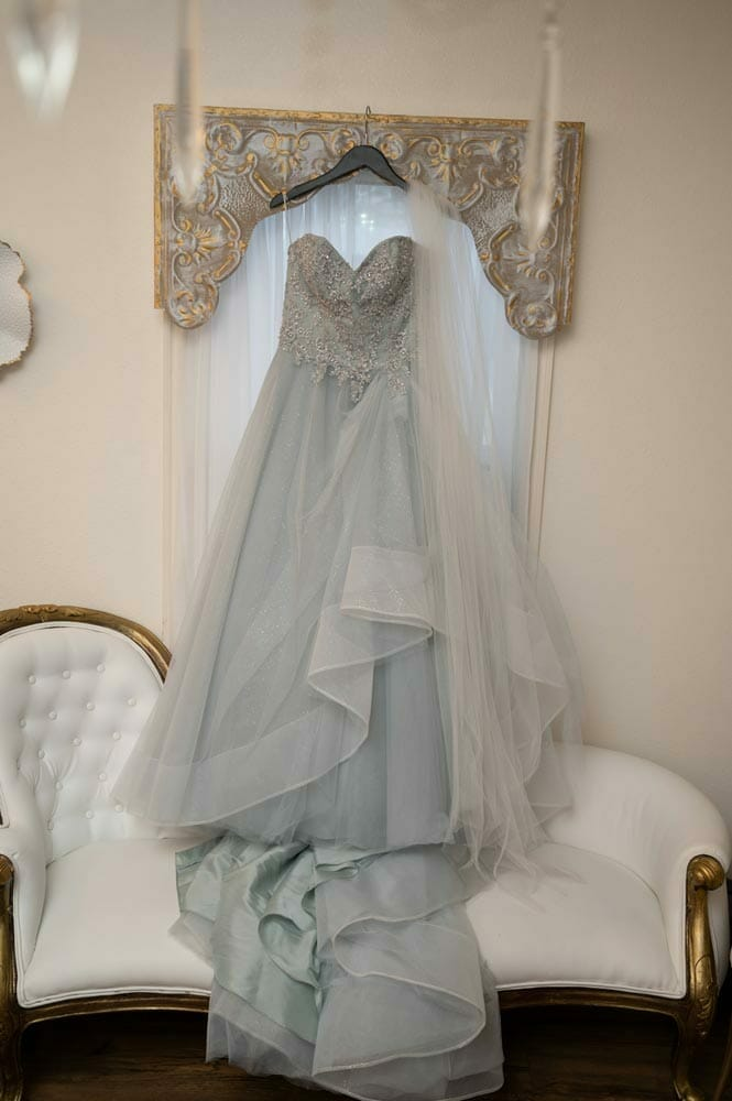 dress hanging in bridal suite at Barn at the Springs