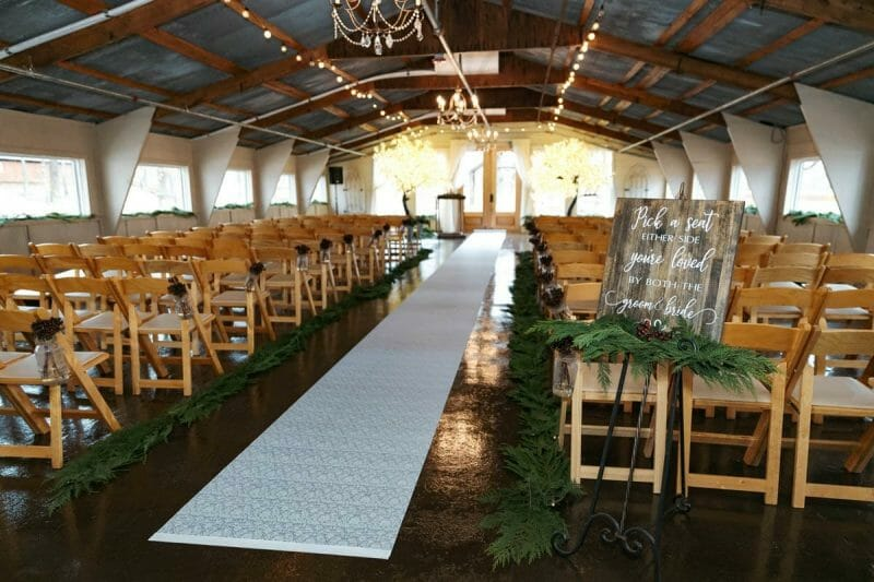 ceremony hall at barn at the springs setup for wedding ceremony