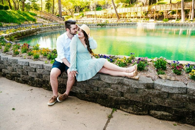 couple in front of spring at Blue Springs Heritage Center