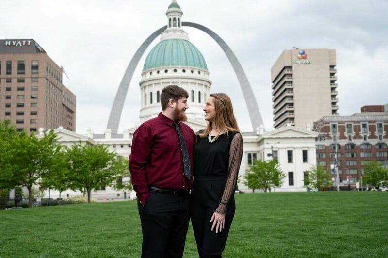 engagement photos at Kiener Plaza Park