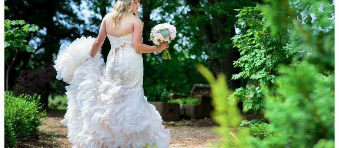 bridal portrait with ruffled dress