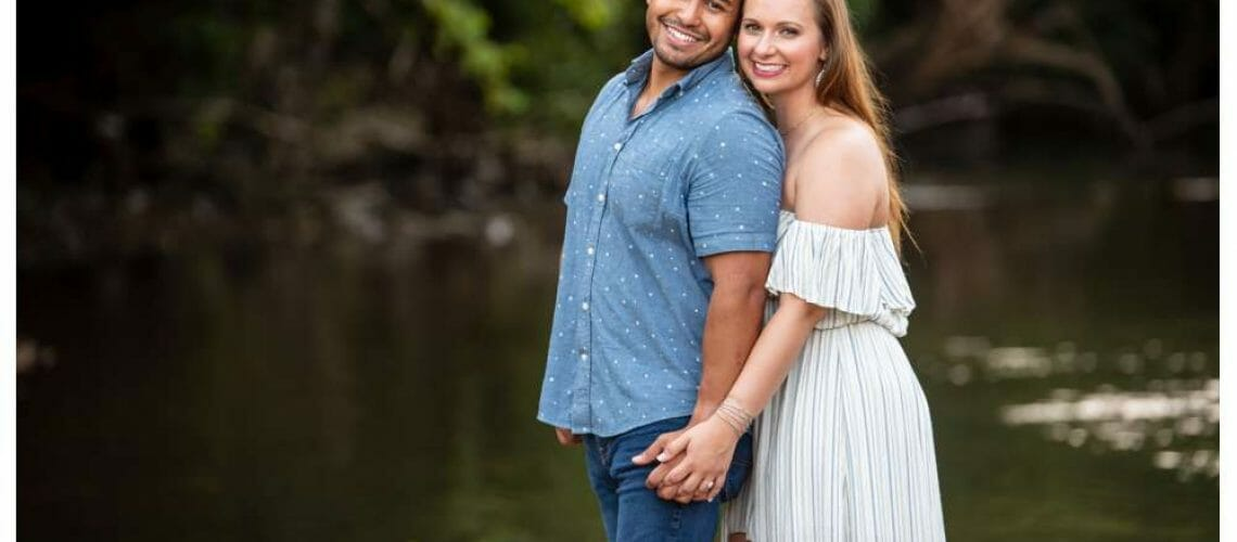 engagement photos by a creek